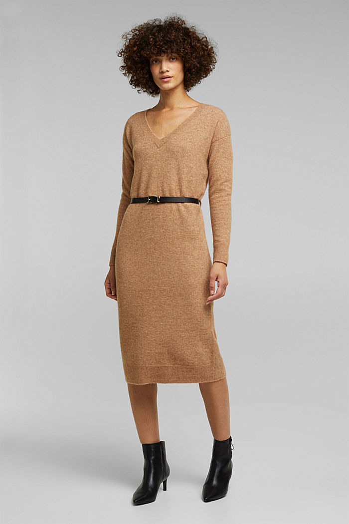 With wool and llama: knit dress with a belt, BEIGE, detail image number 0