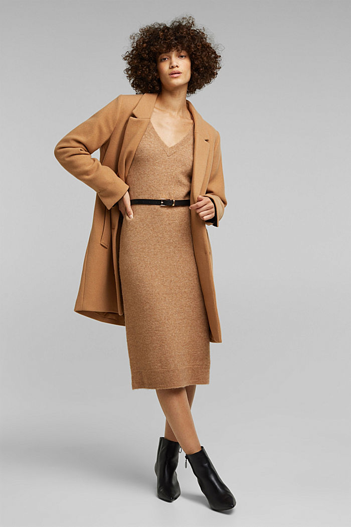With wool and llama: knit dress with a belt, BEIGE, detail image number 1