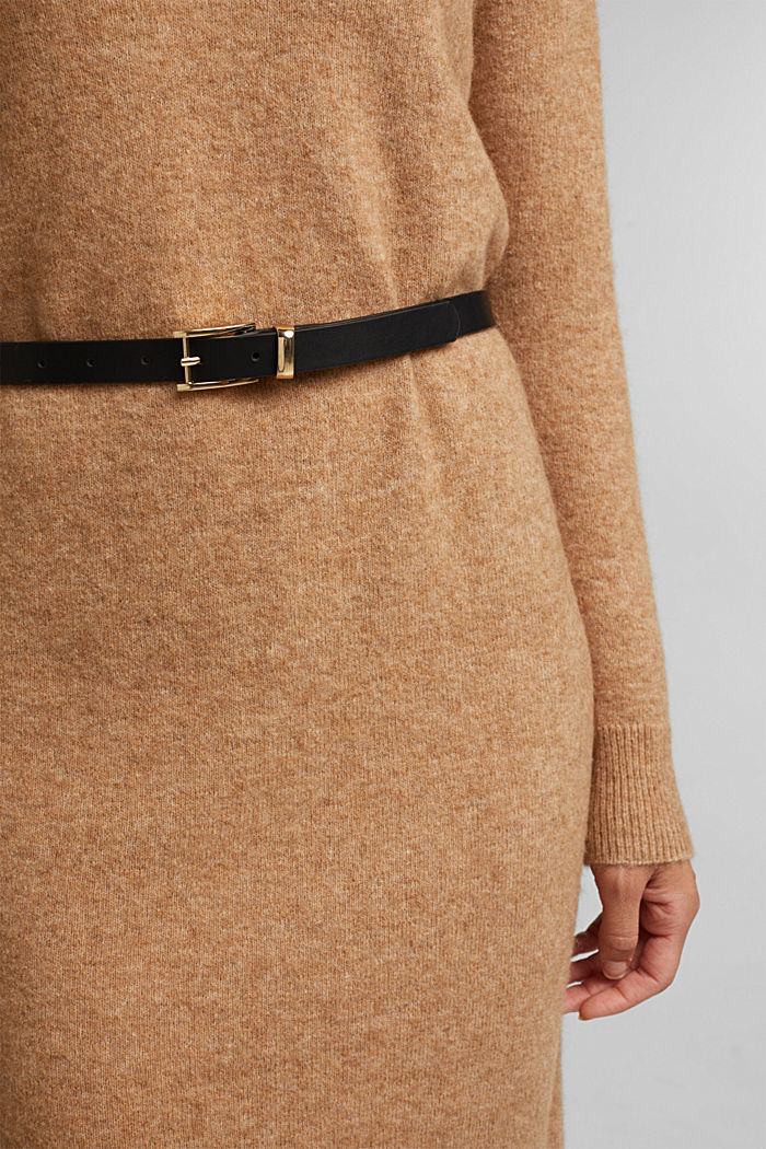 With wool and llama: knit dress with a belt, BEIGE, detail image number 3