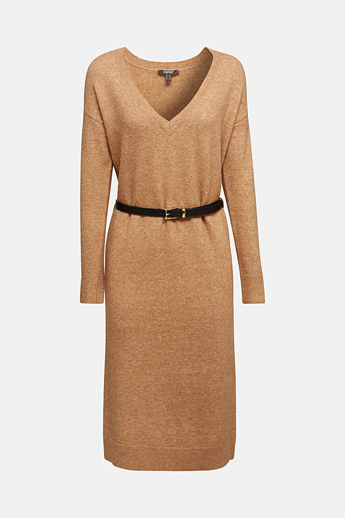 With wool and llama: knit dress with a belt, BEIGE, detail image number 6
