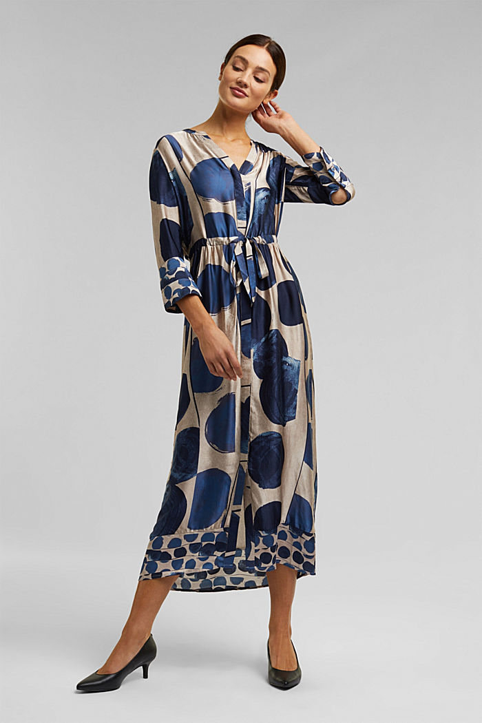 Midi dress in patterned satin, BRIGHT BLUE, detail image number 0