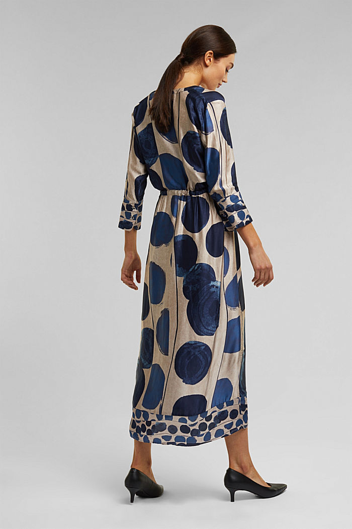 Midi dress in patterned satin, BRIGHT BLUE, detail image number 2