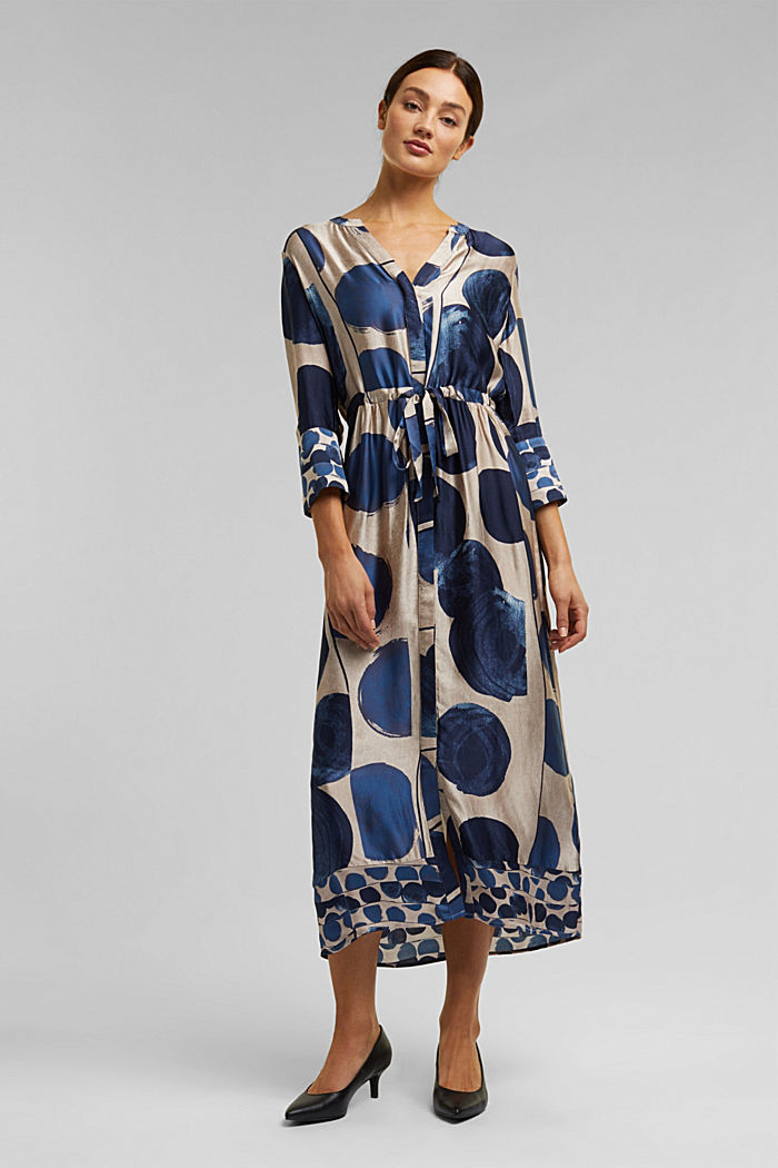 Midi dress in patterned satin, BRIGHT BLUE, detail image number 1