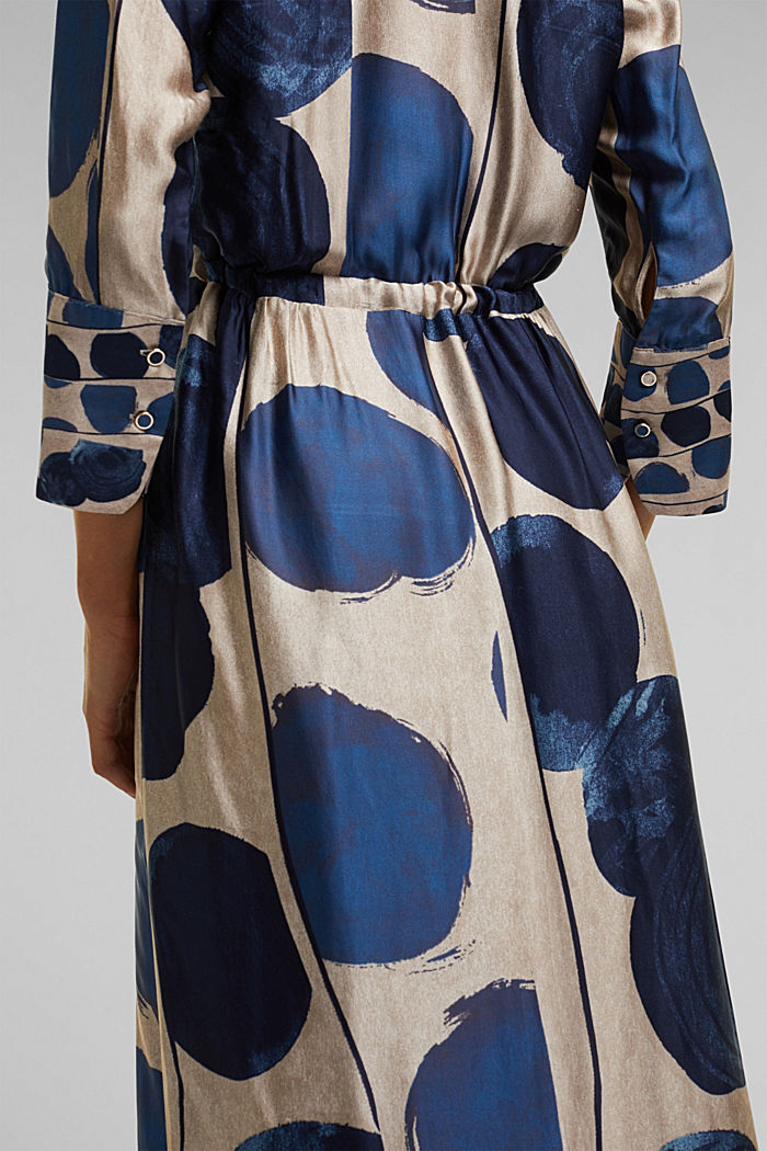 Midi dress in patterned satin, BRIGHT BLUE, detail image number 5
