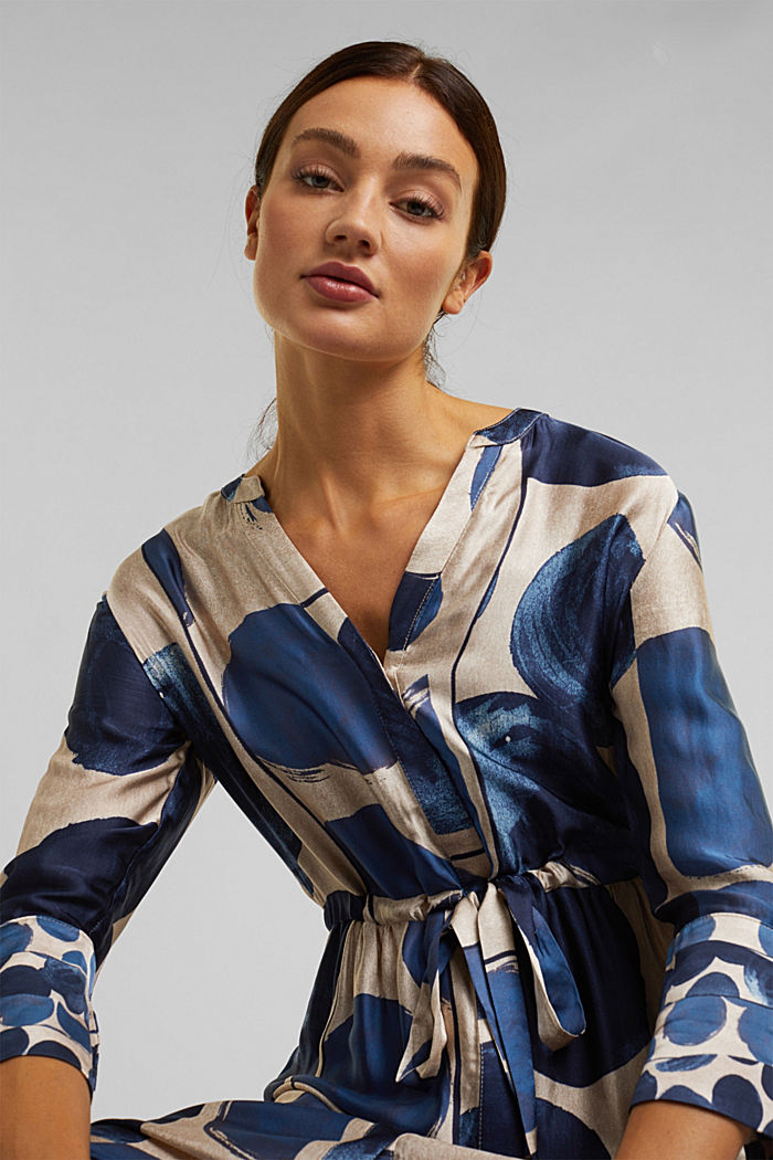 Midi dress in patterned satin, BRIGHT BLUE, detail image number 6
