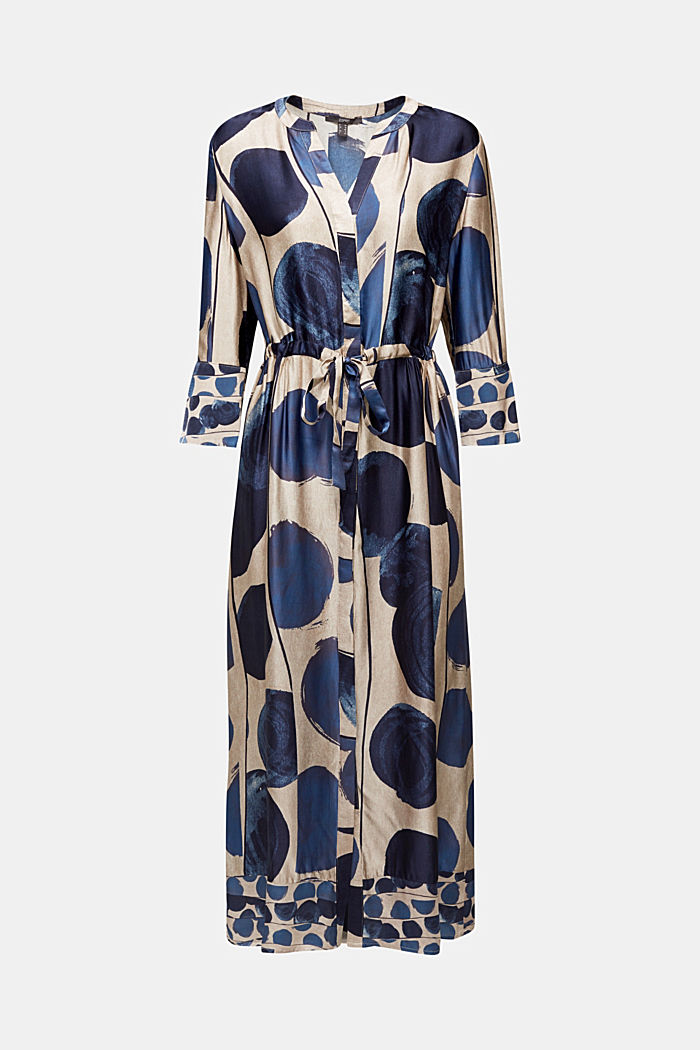 Midi dress in patterned satin, BRIGHT BLUE, detail image number 7