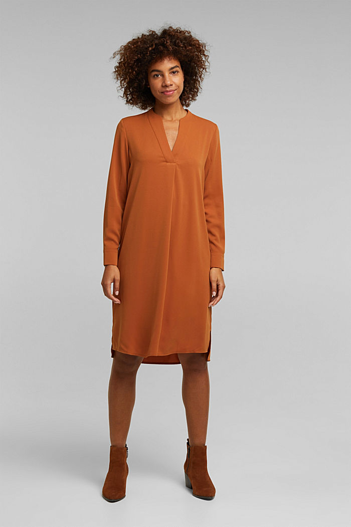 Recycled: Crêpe tunic dress, RUST BROWN, overview
