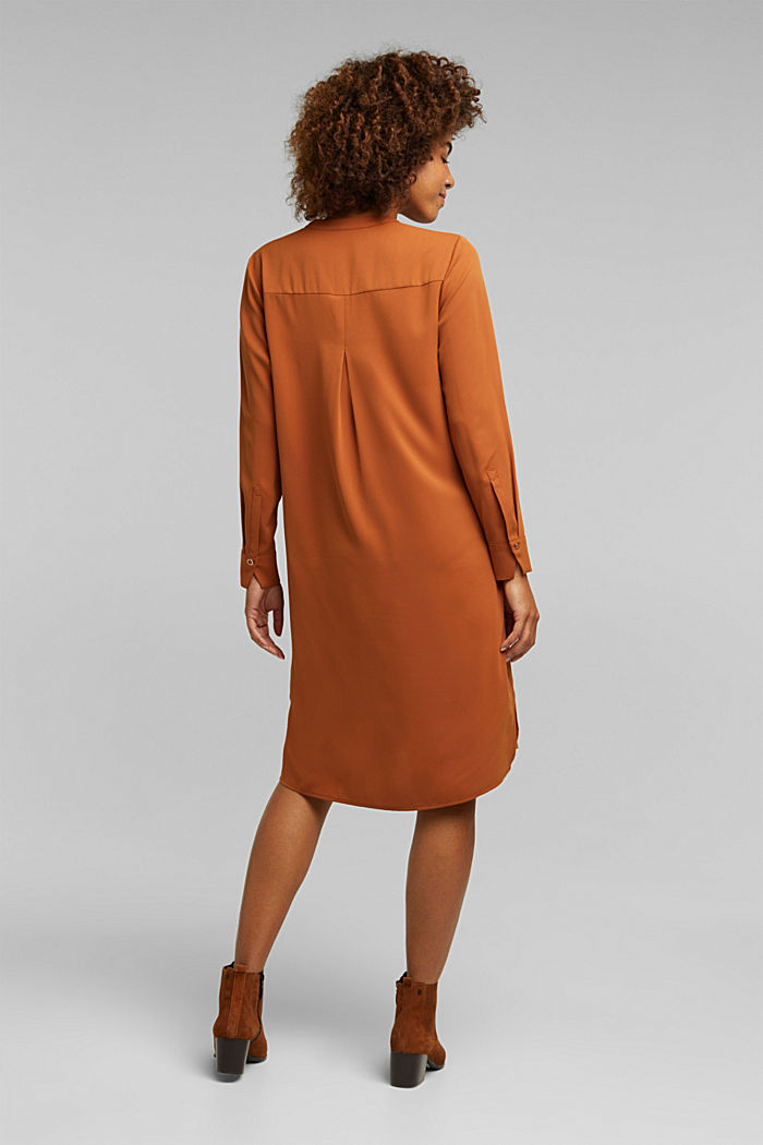 Recycled: Crêpe tunic dress, RUST BROWN, detail image number 2