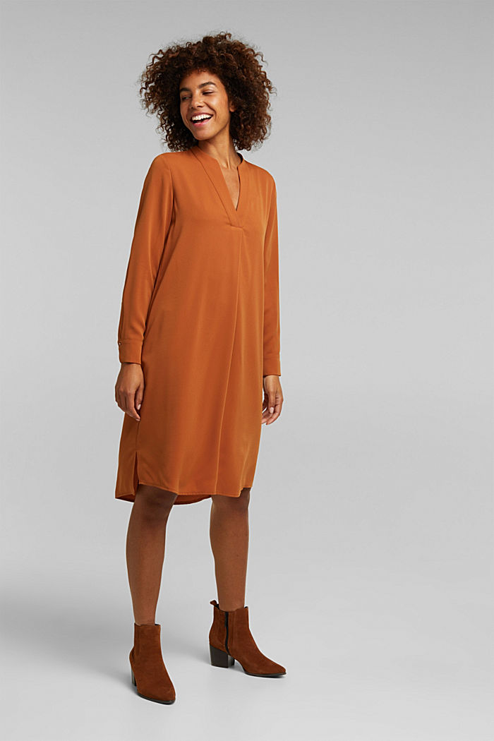 Recycled: Crêpe tunic dress, RUST BROWN, detail image number 1