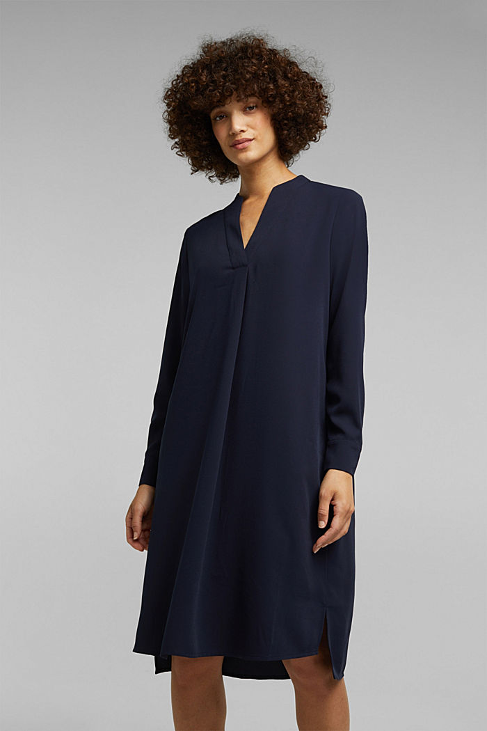 Recycled: Crêpe tunic dress, NAVY, detail image number 0