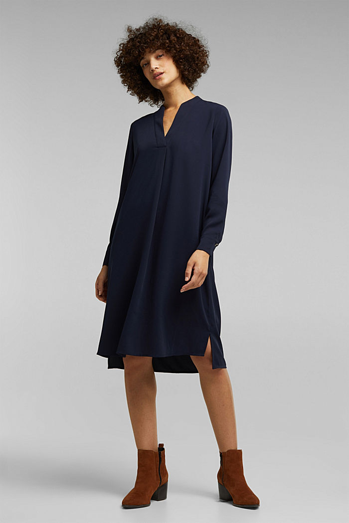 Recycled: Crêpe tunic dress, NAVY, detail image number 1