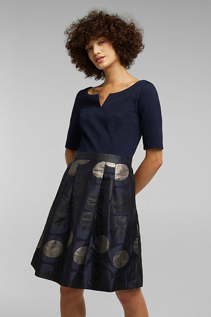Jersey dress with a jacquard skirt, NAVY, detail image number 0