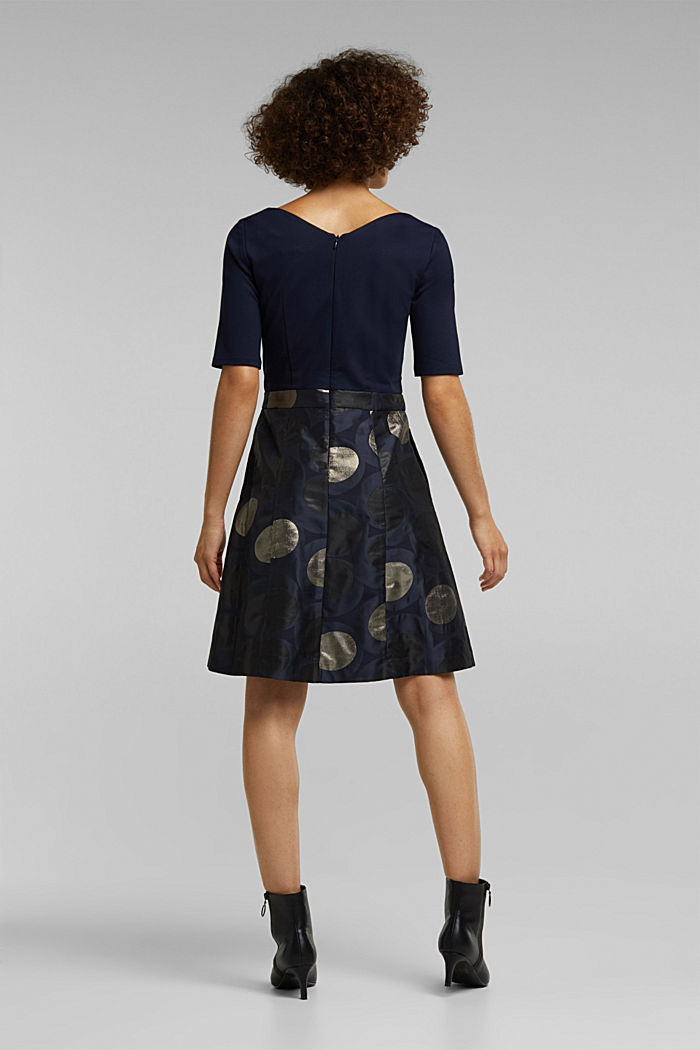 Jersey dress with a jacquard skirt, NAVY, detail image number 2