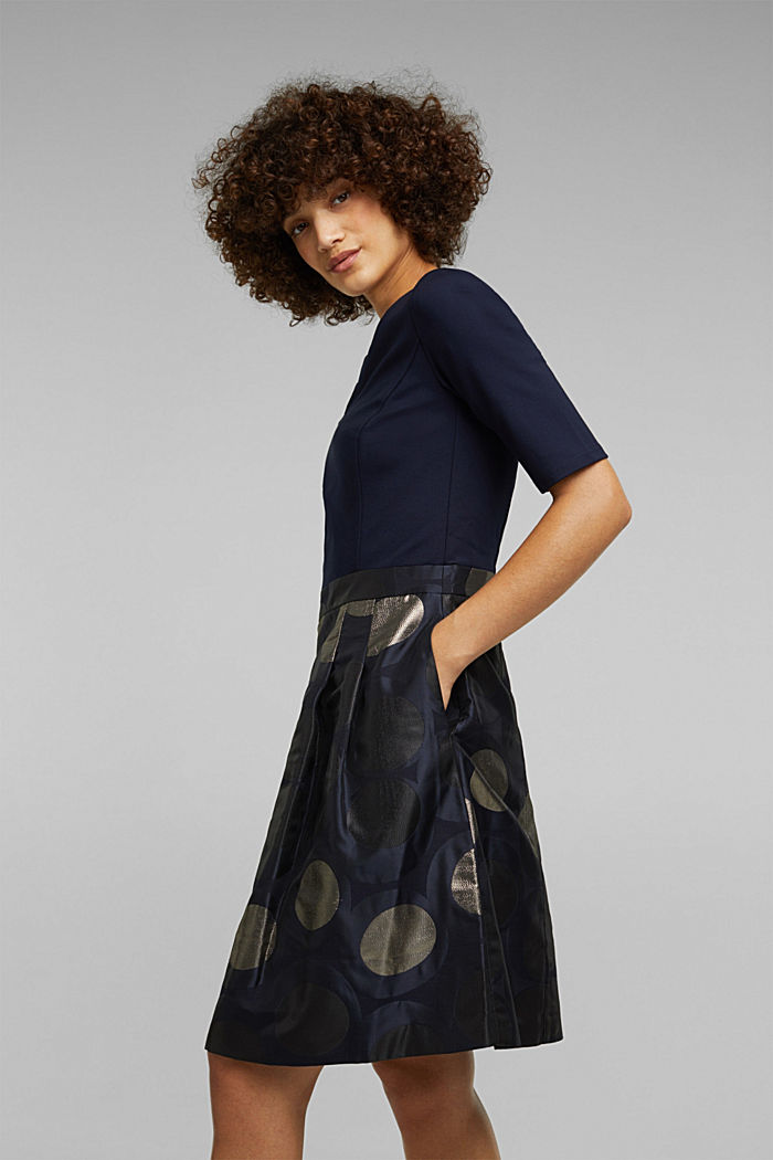 Jersey dress with a jacquard skirt, NAVY, detail image number 4
