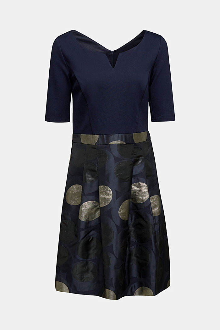 Jersey dress with a jacquard skirt, NAVY, detail image number 6