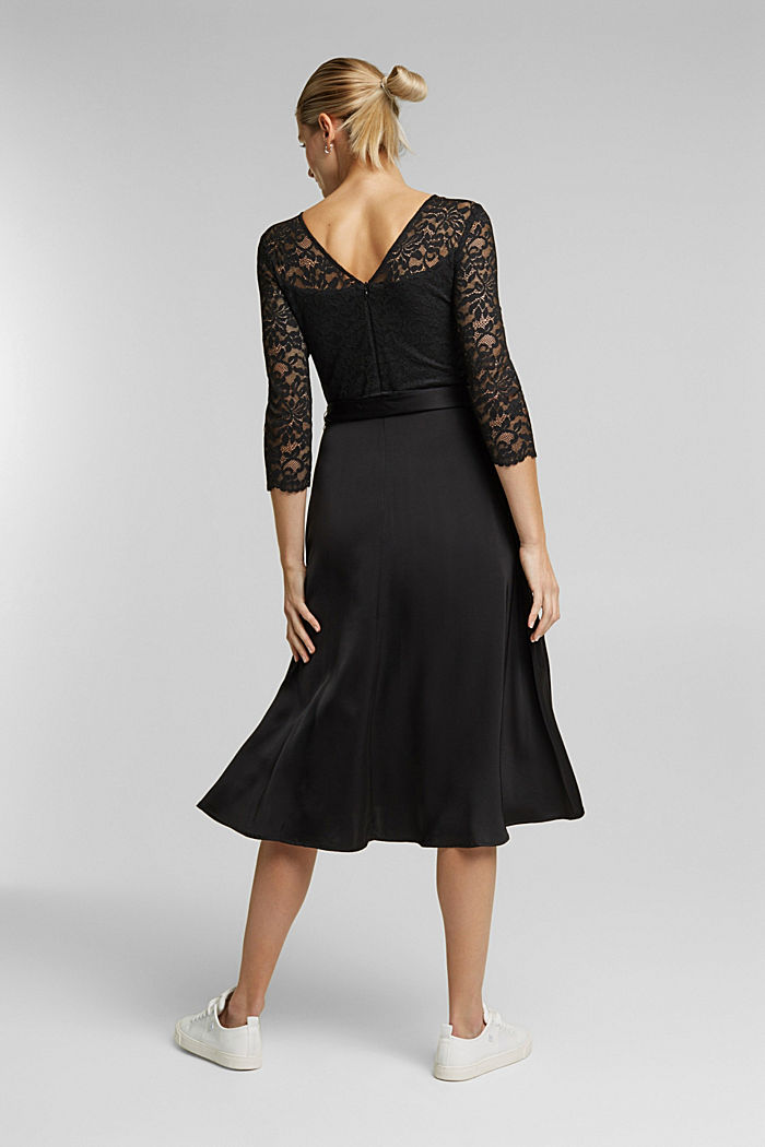 Dress with lace and LENZING™ ECOVERO™, BLACK, detail image number 2