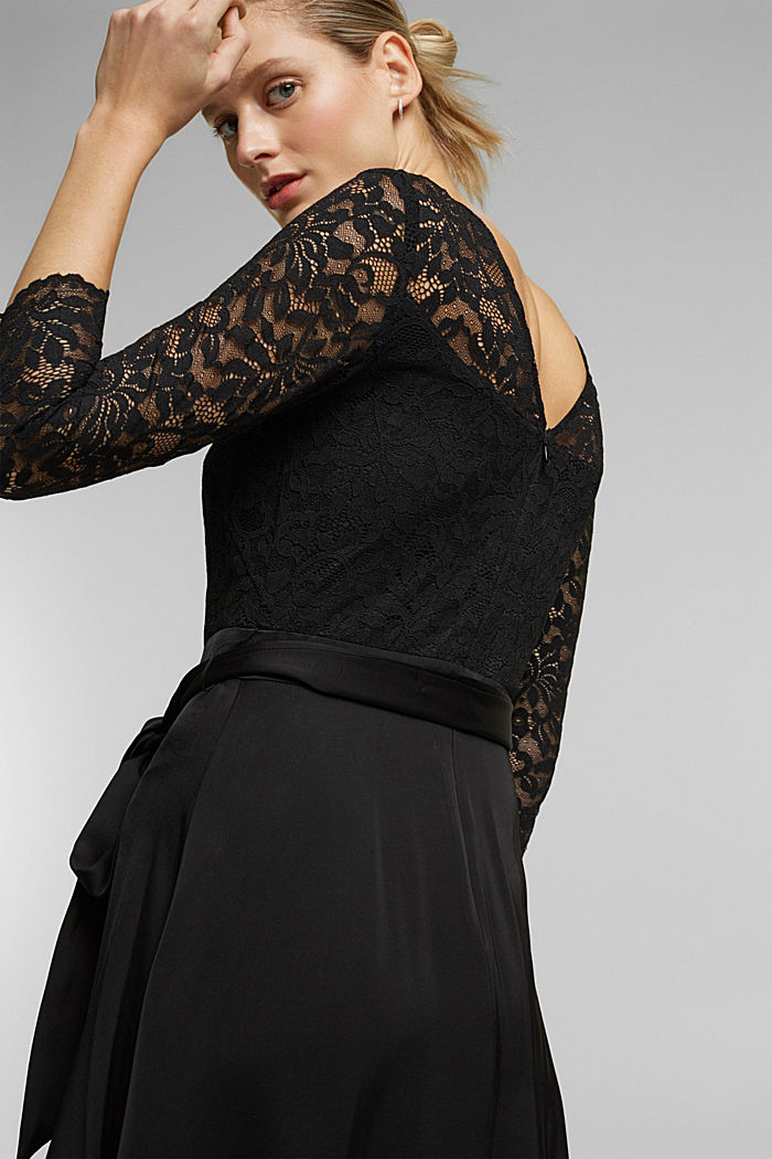 Dress with lace and LENZING™ ECOVERO™, BLACK, detail image number 4