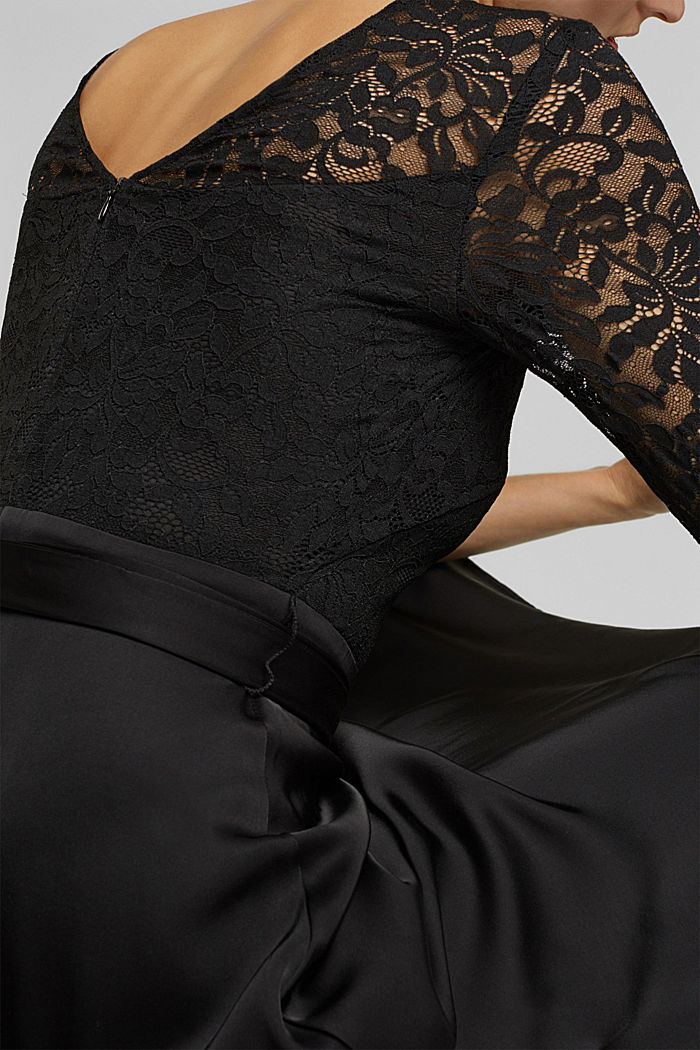Dress with lace and LENZING™ ECOVERO™, BLACK, detail image number 3