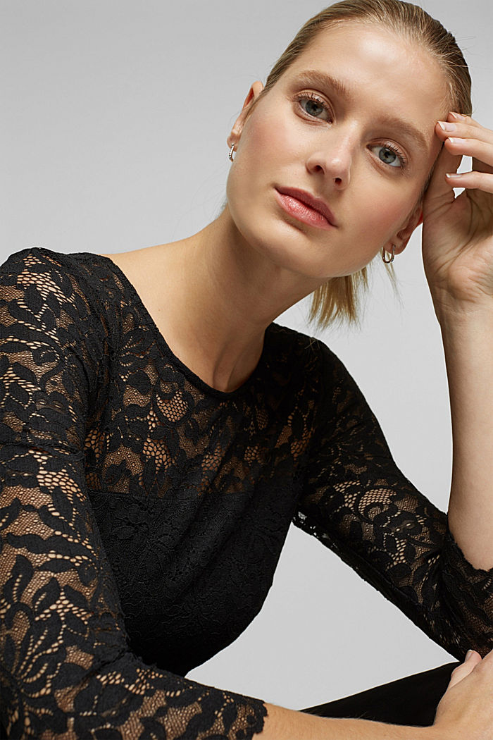Dress with lace and LENZING™ ECOVERO™, BLACK, detail image number 5
