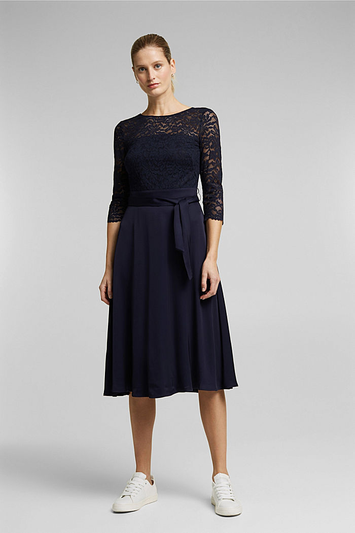 Dress with lace and LENZING™ ECOVERO™, NAVY, detail image number 0