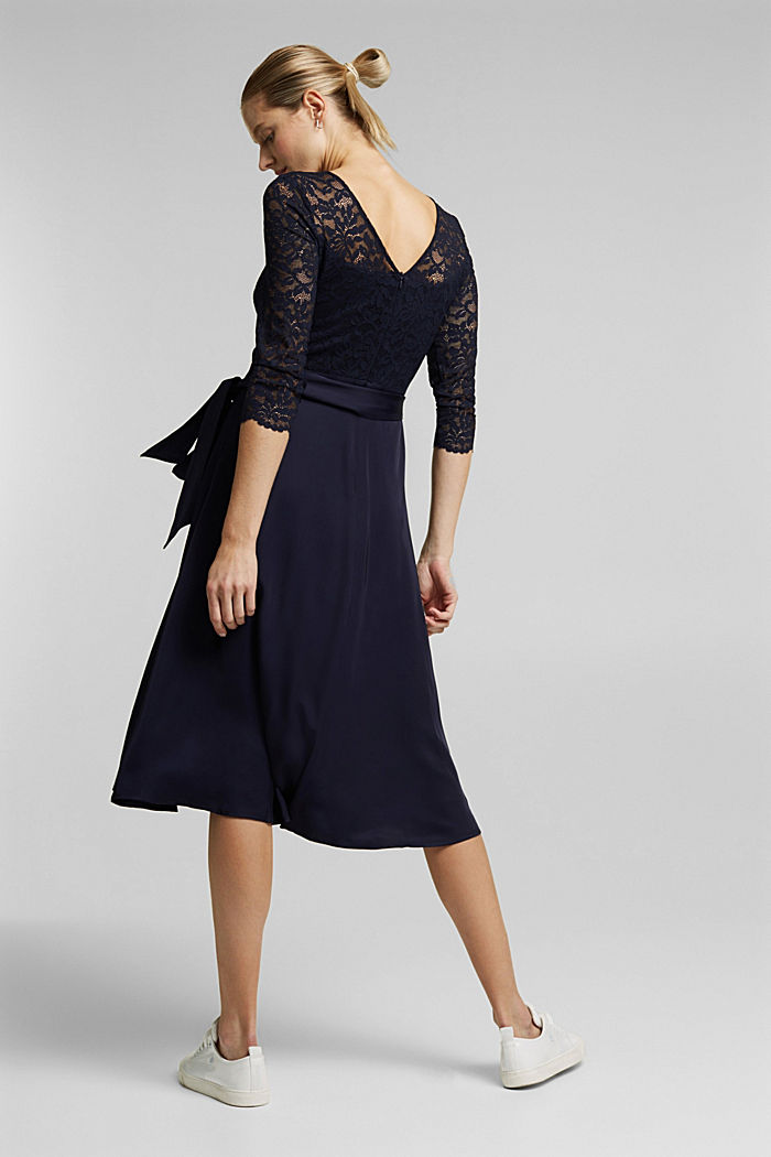 Dress with lace and LENZING™ ECOVERO™, NAVY, detail image number 2