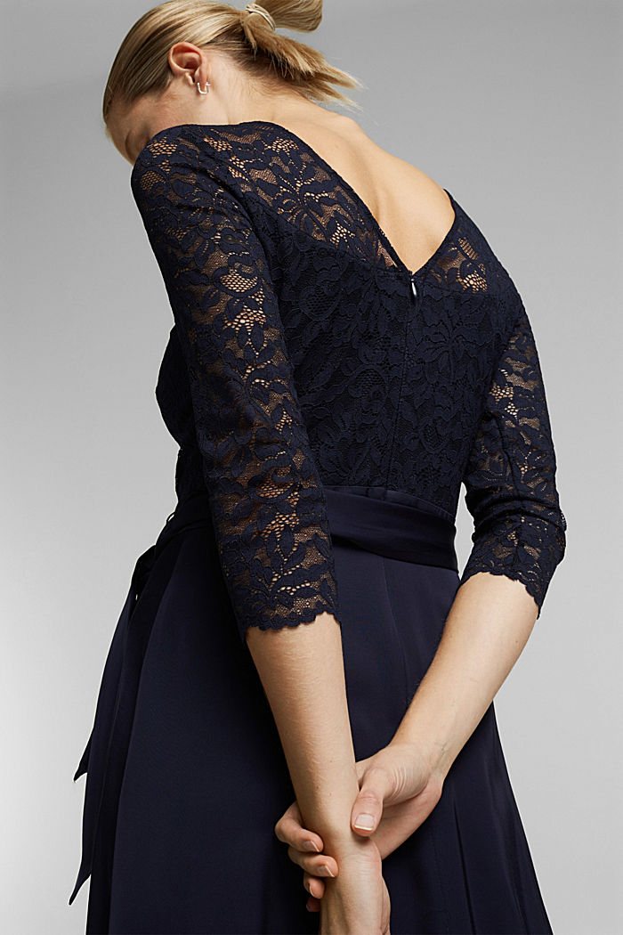 Dress with lace and LENZING™ ECOVERO™, NAVY, detail image number 3