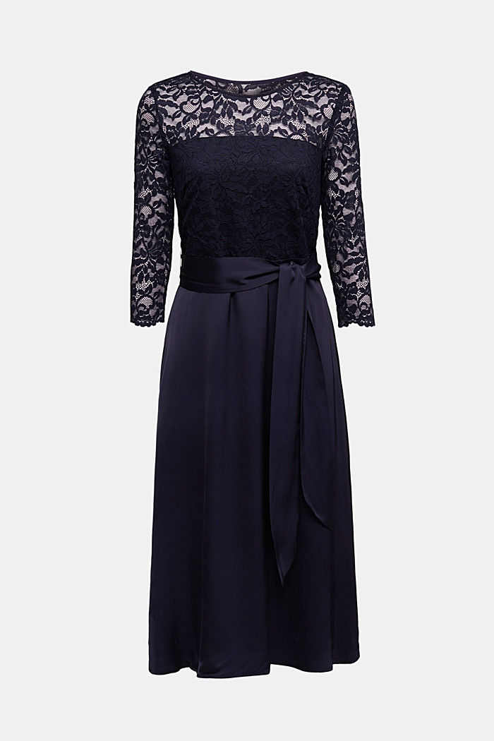 Dress with lace and LENZING™ ECOVERO™, NAVY, detail image number 4