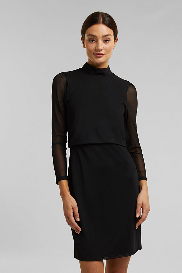 Mesh dress with stand-up collar, BLACK, detail image number 0