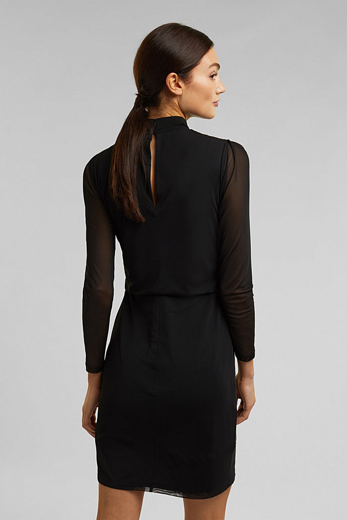 Mesh dress with stand-up collar, BLACK, detail image number 2