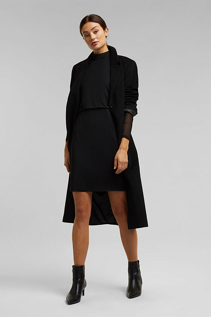 Mesh dress with stand-up collar, BLACK, detail image number 1