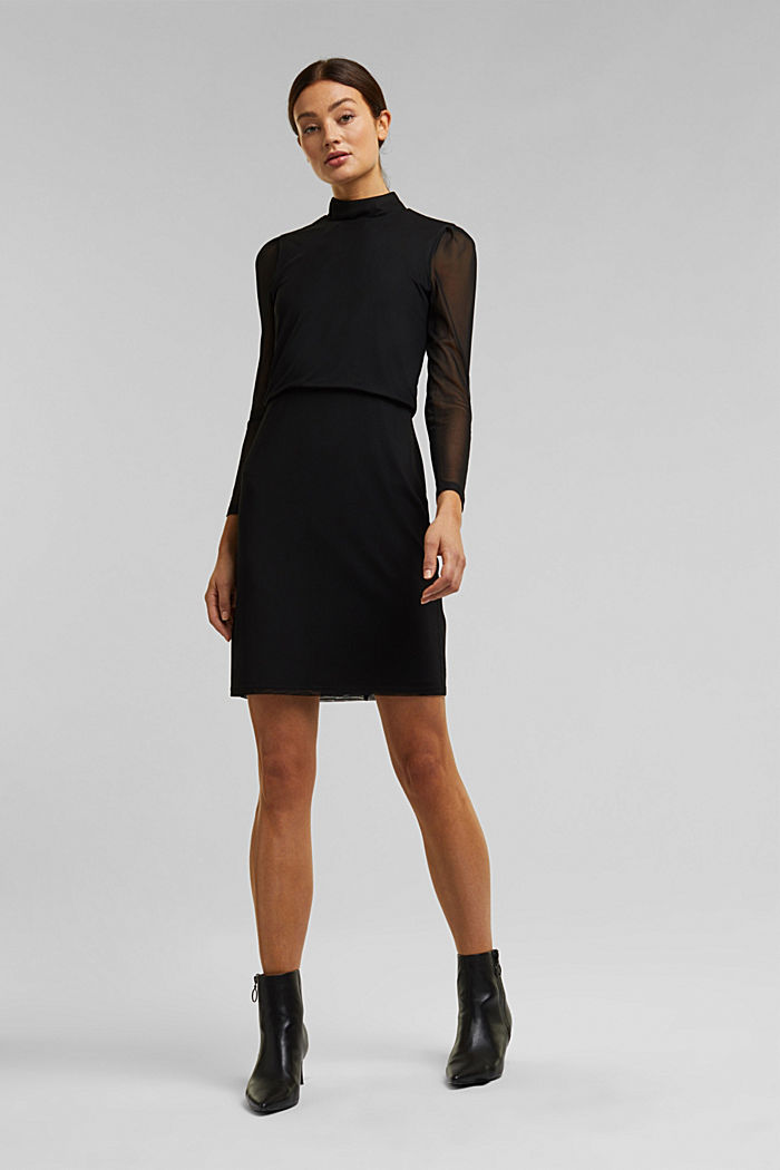 Mesh dress with stand-up collar, BLACK, detail image number 7