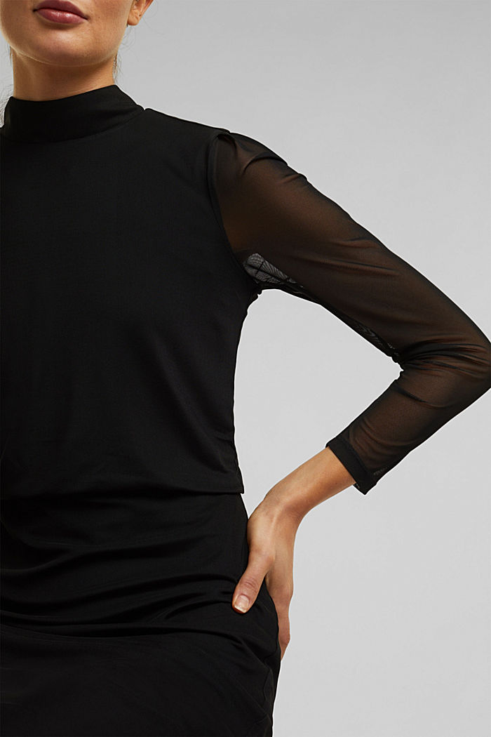 Mesh dress with stand-up collar, BLACK, detail image number 3