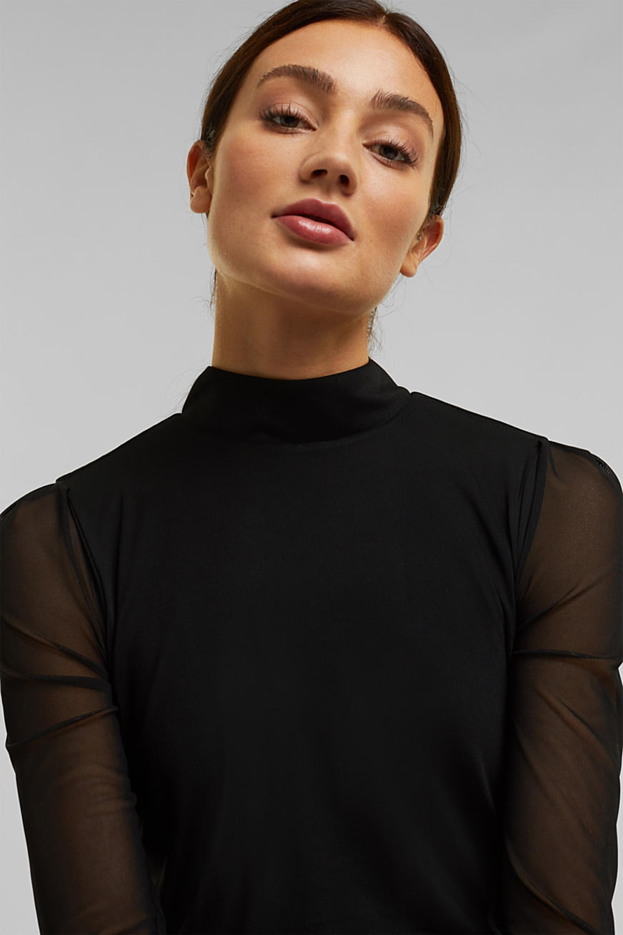 Mesh dress with stand-up collar