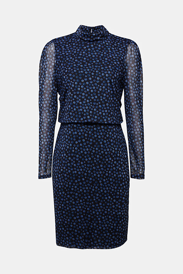 Mesh dress with a stand-up collar and print