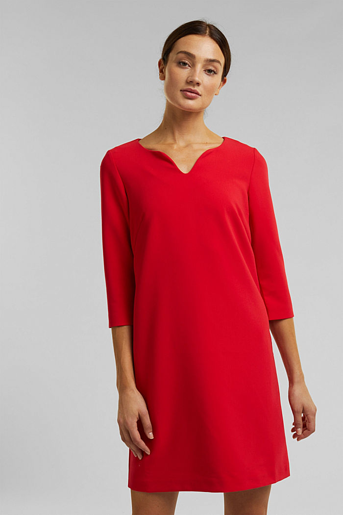 Dress with a cup neckline, RED, detail image number 0