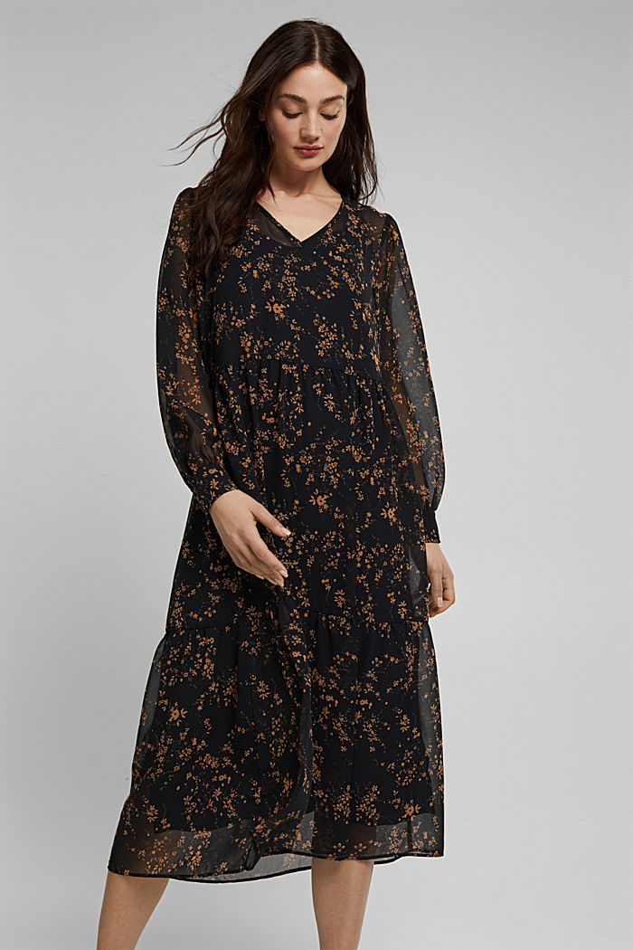 Chiffon dress with a floral print, BLACK, detail image number 0