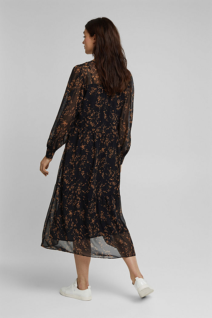 Chiffon dress with a floral print, BLACK, detail image number 2