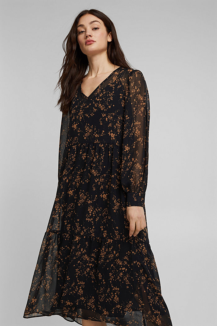 Chiffon dress with a floral print, BLACK, detail image number 5