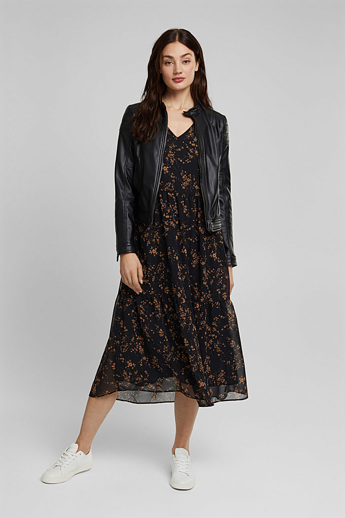 Chiffon dress with a floral print, BLACK, detail image number 1