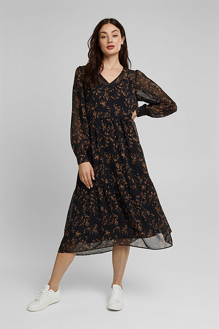 Chiffon dress with a floral print, BLACK, detail image number 6