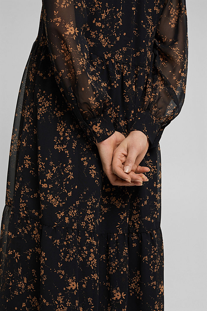Chiffon dress with a floral print, BLACK, detail image number 3