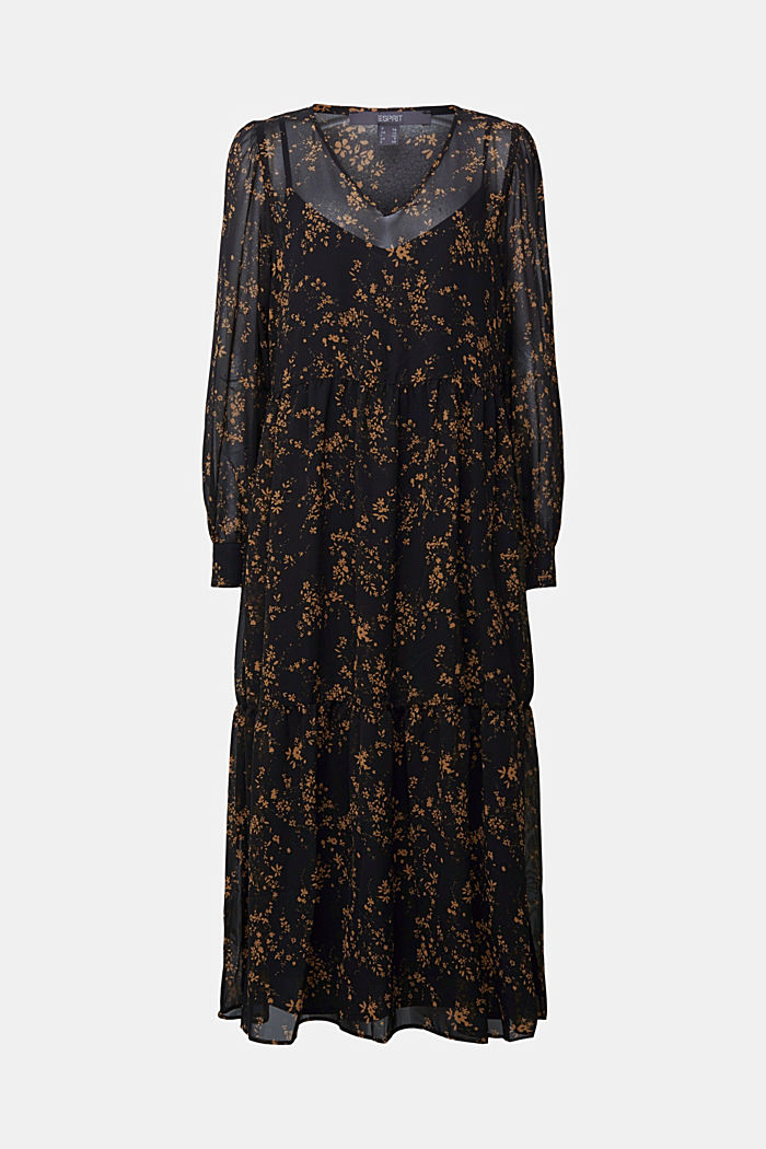 Chiffon dress with a floral print, BLACK, detail image number 7