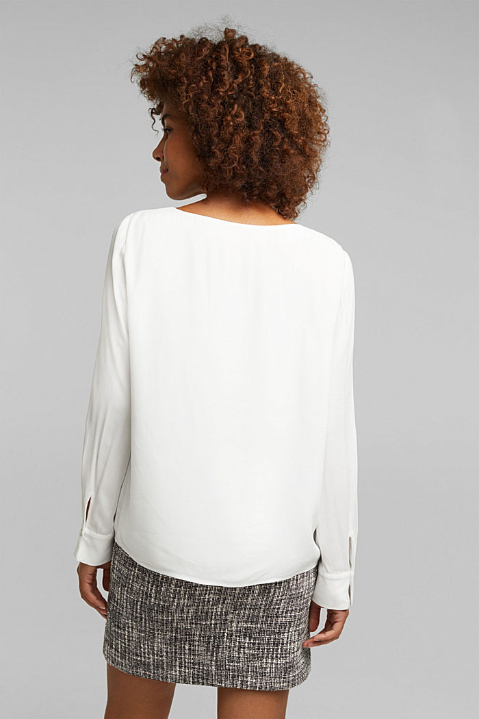 Blouse with a cup neckline, LENZING™ ECOVERO™, OFF WHITE, detail image number 2