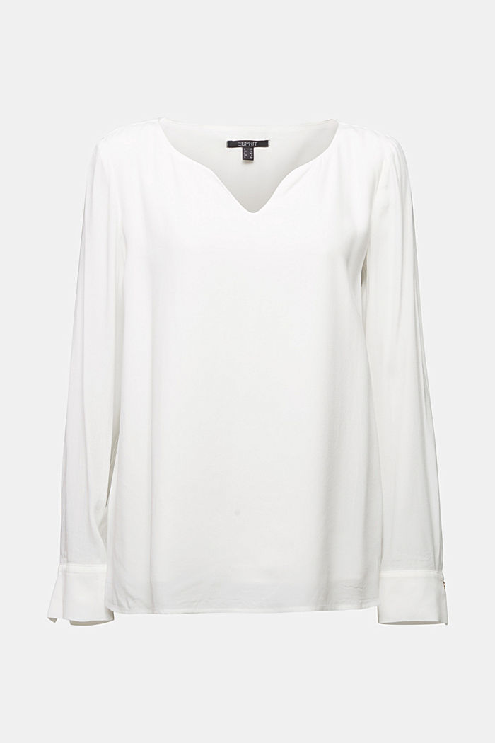 Blouse with a cup neckline, LENZING™ ECOVERO™, OFF WHITE, detail image number 4