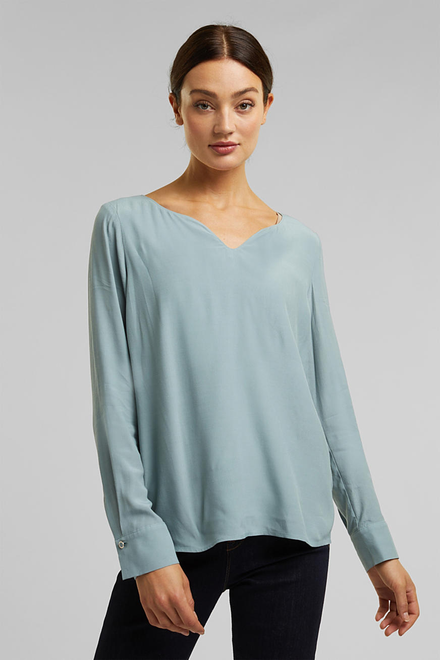 Blouse with a cup neckline, LENZING™ ECOVERO™