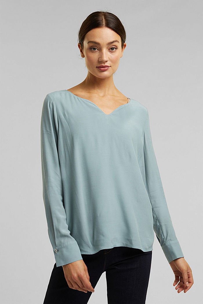 Blouse with a cup neckline, LENZING™ ECOVERO™, GREY BLUE, overview