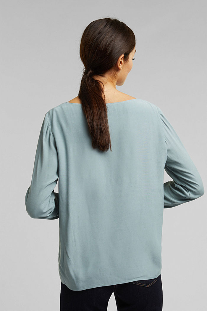 Blouse with a cup neckline, LENZING™ ECOVERO™, GREY BLUE, detail image number 3