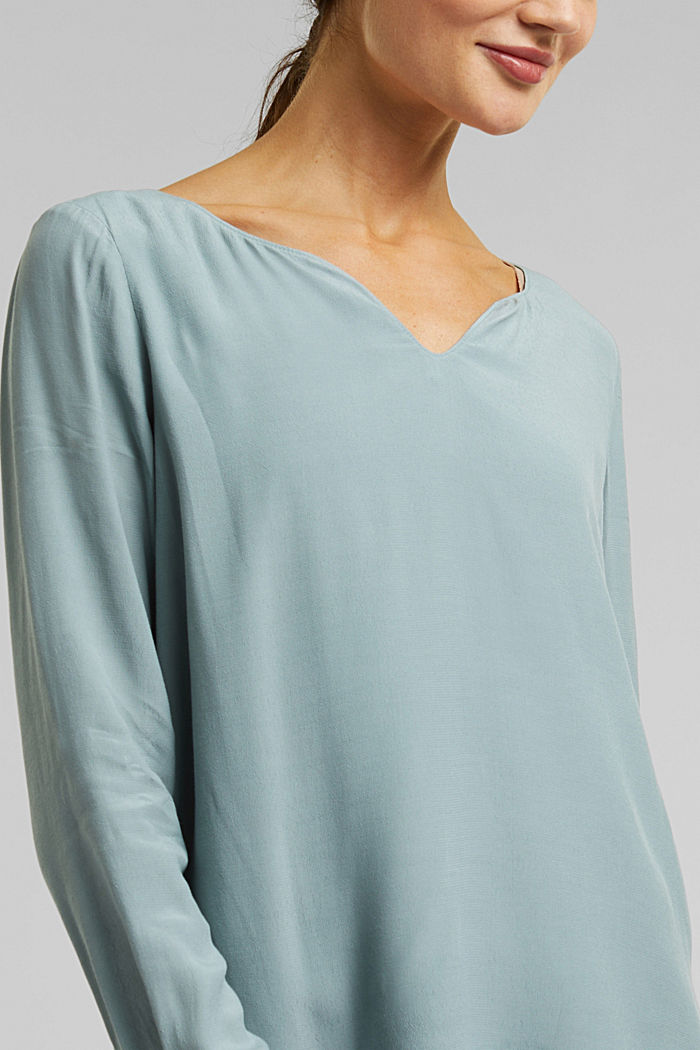 Blouse with a cup neckline, LENZING™ ECOVERO™, GREY BLUE, detail image number 2
