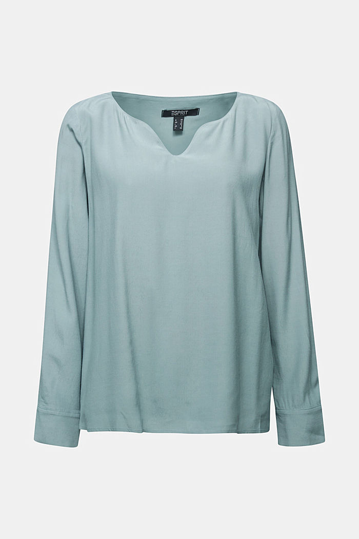 Blouse with a cup neckline, LENZING™ ECOVERO™, GREY BLUE, detail image number 5