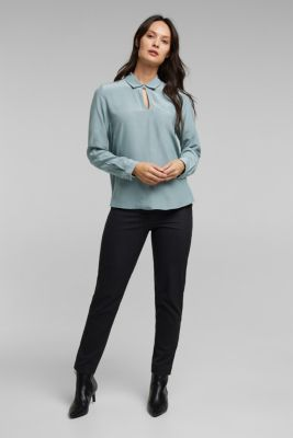 Blouse made from LENZING™ ECOVERO™, GREY BLUE, detail